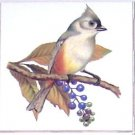 "Titmouse Song Bird 4.25"" x 4.25"" Accent Ceramic Tile Kiln Fired Decor"