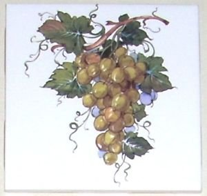 """Closeout  SET OF FOUR Green Yellow Grape Cluster Ceramic Tiles 4.25"""" Kiln Fired Back Splash Accent"""