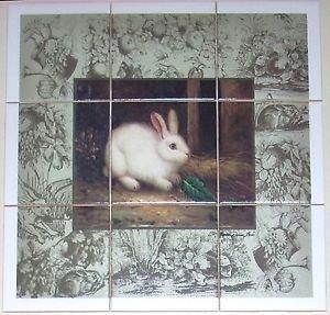 """Closeout White Rabbit Ceramic Tile Mural Back Splash 9pcs 4.25"""" Bunny Kiln Fired Decor"""