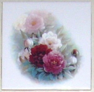 """Closeout ONE  Pink Peony Ceramic Tile Flower Peonies Kiln Fired 4.25"""" Decor"""