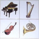 Piano Ceramic Tile 4 Musical Instruments Horn Harp Violin Kiln Fired