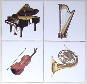 Closeout Piano Ceramic Tile 4 Musical Instruments Horn Harp Violin Kiln Fired