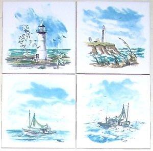 "White Light House Ceramic Tile Accents Boat Lighthouse 4.25""/ 4 Kiln Fired Decor"