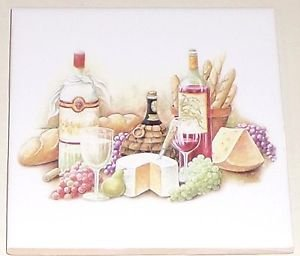 "Closeout Bread and Wine Ceramic Tile Mural Accent 4.25"" Kiln Fired Fruit Back Splash #1"