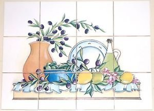 "Closeout Tuscan Ceramic Tile Mural 12 of 4.25""  Kiln Fired Olive Lemon Back Splash Decor"