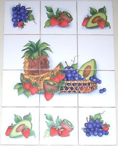 "Closeout Fruit Ceramic Tile Mural 6 + 6 pcs 4.25"" Kiln Fired Avacado Strawberries Grapes"