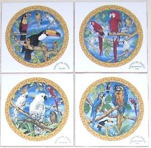"""Closeout Cockatoo Parrot Macaw Tu can Bird Ceramic Tile Mural 4.25"""" 4pcs Kiln Fired Tiles"""