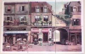 """Via Veneto Ceramic Tile Mural 6 of 6"""" Village Scene Kiln Fired Backsplash"""