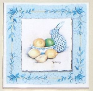 "Closeout FOUR Lemon and Lime Ceramic Tiles 4.25"" x 4.25"" Kiln Fired Decor with Blue Border"