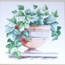 "Ivy Ceramic Tile Mural Greenery  Ivy and Urns accent  4.25"" Kiln Fired Decor"