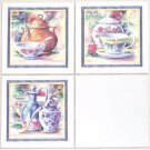 "Closeout TEA SET W/BLUE CERAMIC TILE MURAL BACK SPLASH 4.25"" KILN FIRED Set of 3 pieces"