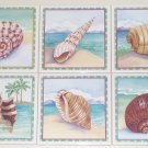 "Sea Shell Ceramic Tile Back Splash Tropical Shells 6"" Set of 6 Kiln Fired"