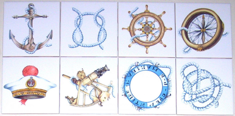 "Nautical Ceramic Tile Set of 8 kiln fired 4.25"" Ship Rope Compass Wall Decor"
