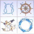 "Nautical Ceramic Tile Set of 8 kiln fired 4.25"" Ship Rope Compass Wall Decor"