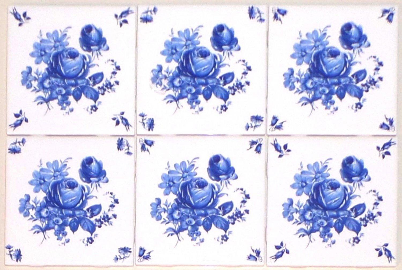 "Blue Ceramic Rose Tiles Set of 6 /4.25""Blue Delft Design with Corners Kiln Fired"