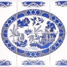"Kiln Fired Blue Willow Ceramic Tile Mural 6pcs of 4.25"" x 4.25"" back splash"