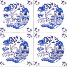 "Blue Willow Ceramic 4.25"" Accent Tile Kiln Fired Set of 4 Back Splash Tiles"
