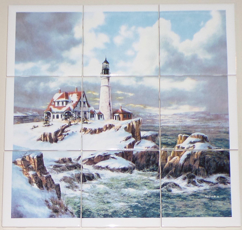 """Winter Light House Ceramic Tile Mural 9pc 4.25"""" Ocean Backsplash Kiln Fired"""