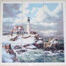 "Winter Light House Ceramic Tile Mural 9pc 4.25"" Ocean Backsplash Kiln Fired"
