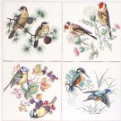 "Thrush Finch Song Birds set of 4 Ceramic Tile 4.25"" x 4.25"" Kiln Fired Decor"