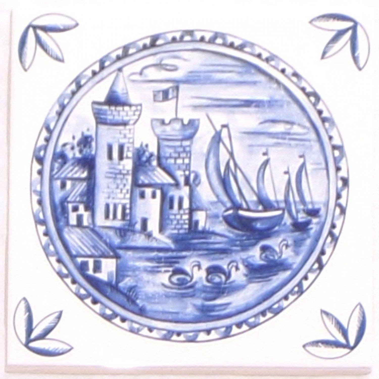 "Blue Delft Ceramic Tile 4.25"" Castle Boat Kiln Fired Decor #3"