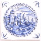 "Blue Delft Ceramic Tile 4.25"" Castle Boat Kiln Fired Decor #3"
