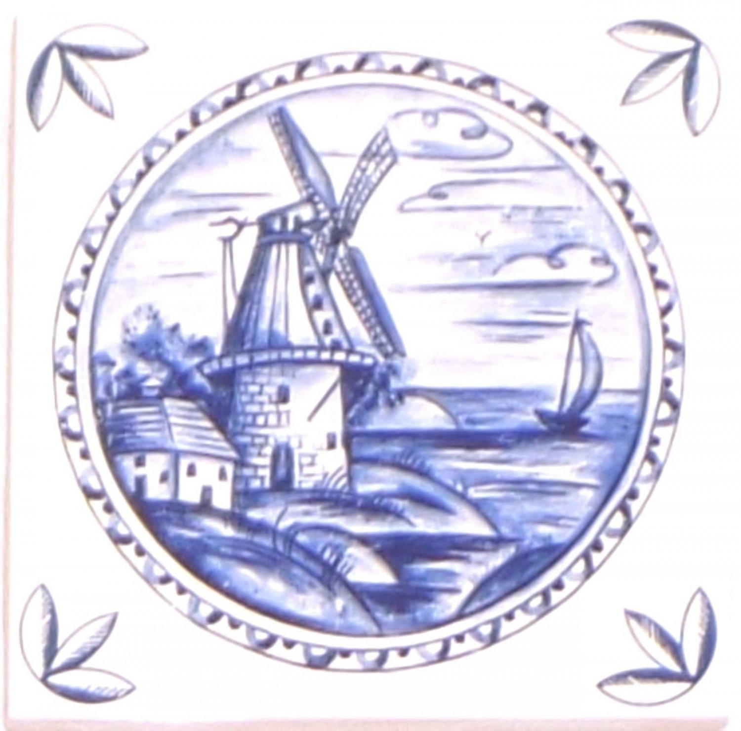 "Blue Delft Ceramic Tile 4.25"" x 4.25"" House Windmill Kiln Fired with Corners #2"