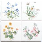 "Flower Herb Ceramic Tile 4 of 4.25"" x 4.25"" Aquilegia vulgaris, Altha palustris"