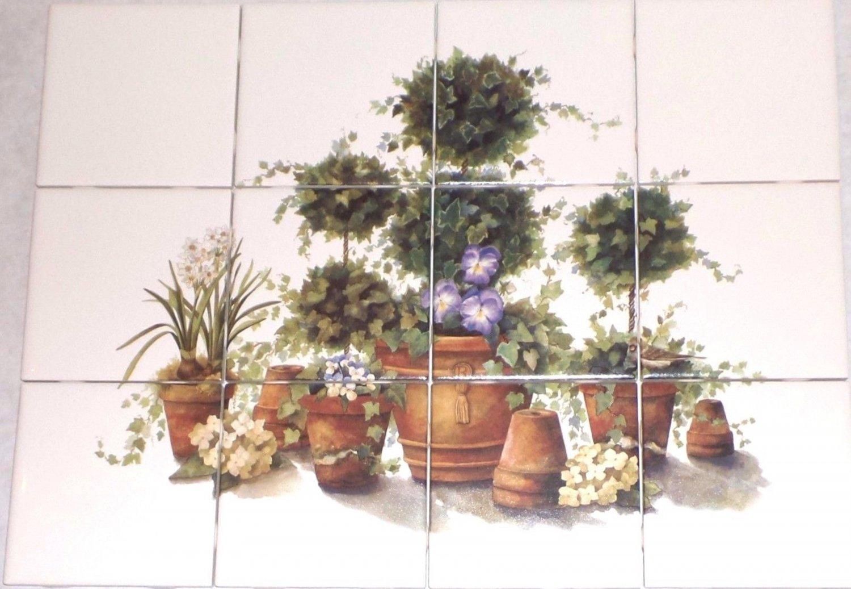 Potted Ivy and Sparrow Bird Kiln Fired Ceramic Tile 12p Mural Back Splash Decor