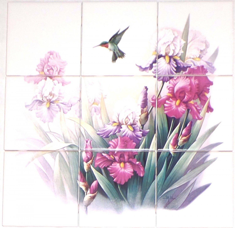 "Hummingbird Iris Ceramic Tile Mural Lavender and Pink  Flowers 9pc of 4.25"" Bird"