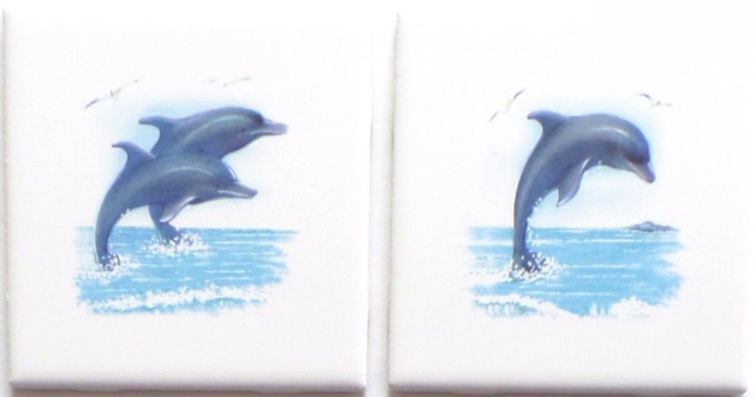 Dolphin Ceramic Tile Accent set of 2 of 4.25 Blue Dolphins Fish Kiln fired Decor