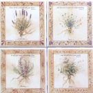 "Beautiful Herb Ceramic Tile set 4 of 4.25"" x 4.25"" Kiln Fired Back Splash Decor"