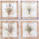 "Beautiful Herb Ceramic Tile set 4 of 4.25"" x 4.25"" Kiln Fired Back Splash Decor"