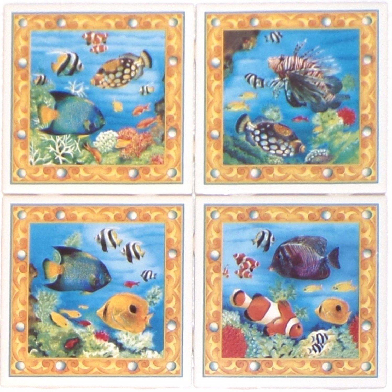 "Tropical Fish 4pcs of 4.25"" x 4.25"" Kiln Fired Back Splash Tiles Blow Fish"