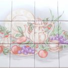 "Grape Ceramic Tile Mural 12pc 4.25"" x 4.25"" Kiln Fired Back Splash"