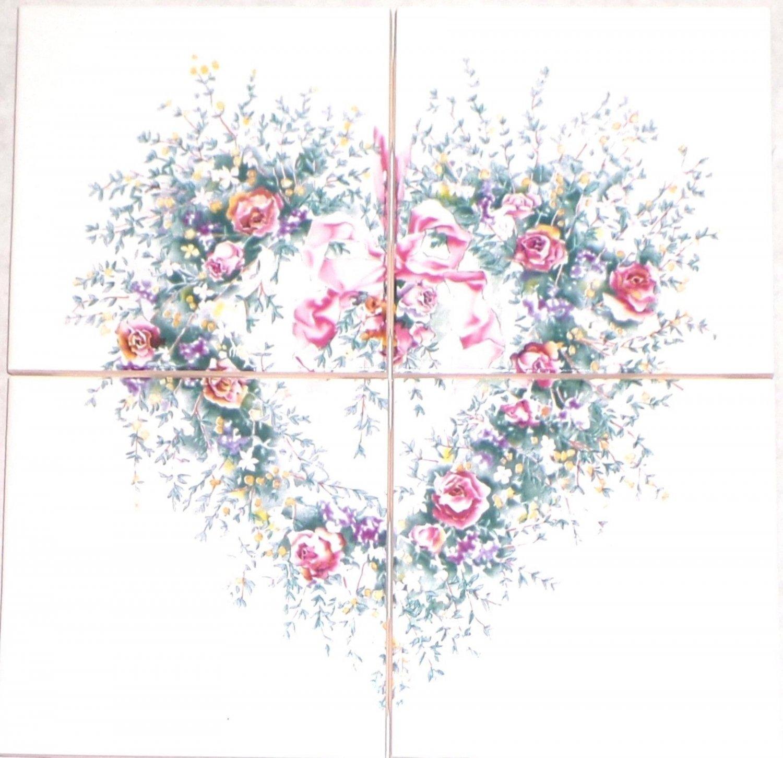 """Heart Pink Rose Ceramic Tile Mural 4 pc 4.25"""" x 4.25"""" Kiln Fired Back Splash"""