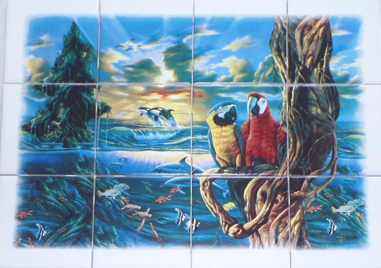 "Parrots and Sea Life 12pc Mural Ceramic Tile 4.25"" Kiln Fired Decor Back Splash"
