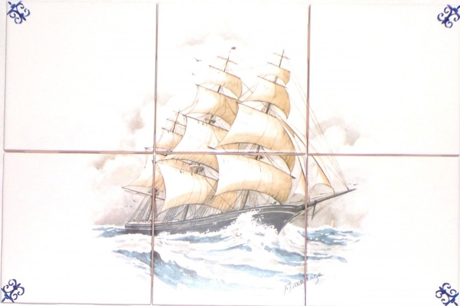 "Closeout Flying Cloud Ship Ceramic Tile Mural 6 pcs 4.25"" x 4.25"" Kiln Fired Wall Decor"