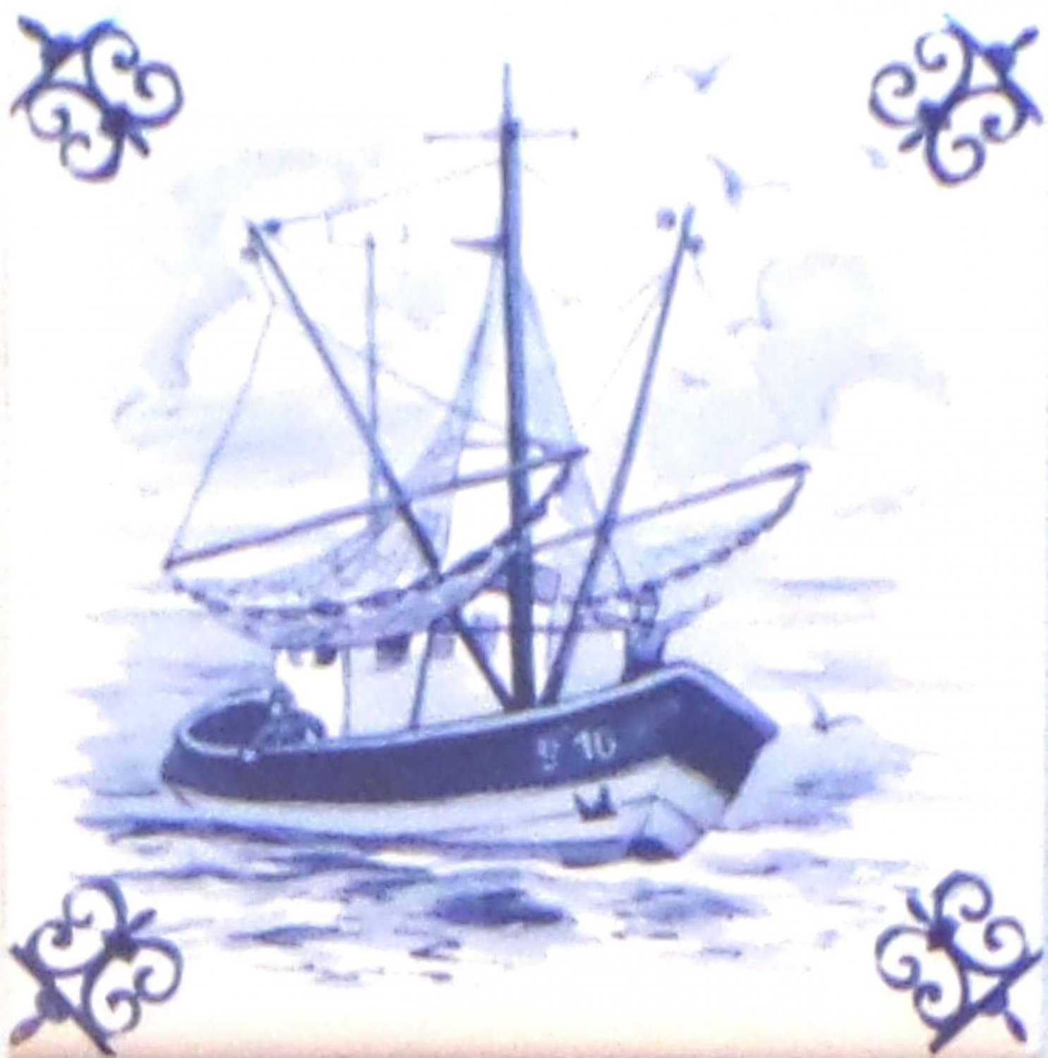 Blue Fishing Boat Ox Tail Ceramic Tile Accent Kiln Fired Back Splash Delft 4.25""