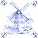 Blue Wind Mill Ox Tail Ceramic Tile Accent Kiln Fired Back Splash Delft 4.25""