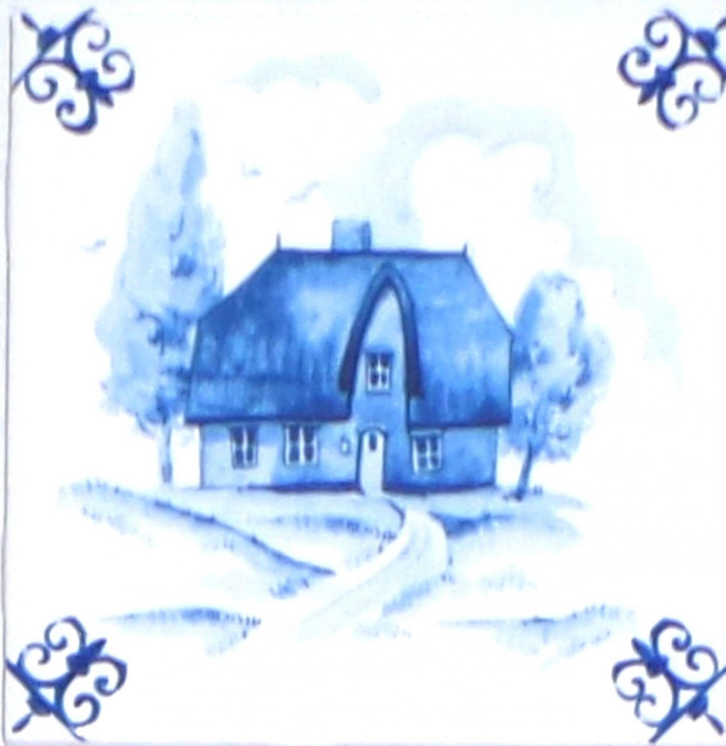 Blue House Ox Tail Ceramic Tile Accent Kiln Fired Back Splash Delft 4.25""
