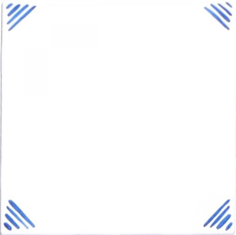"Blue Stripe Corners 4.25"" x 4.25"" Kiln Fired Accent Tile Back Splash Decor"