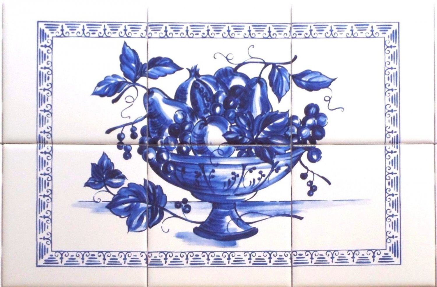 "Blue Fruit Ceramic Tile Mural 18"" x 12"" Kiln Fired Back Splash Delft Decor"