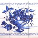 """Blue Fruit Ceramic Tile Mural 18"""" x 12"""" Kiln Fired Back Splash Delft Decor"""