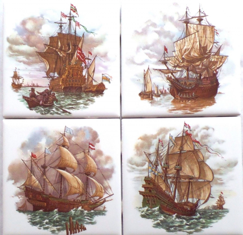 "Nautical Ceramic Tile Set of 4 kiln fired 4.25"" x 4.25"" Sailing Galleon Ships"