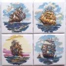 "Nautical Ceramic Tile Set of 4 kiln fired 4.25"" x 4.25"" Sailing Ships"
