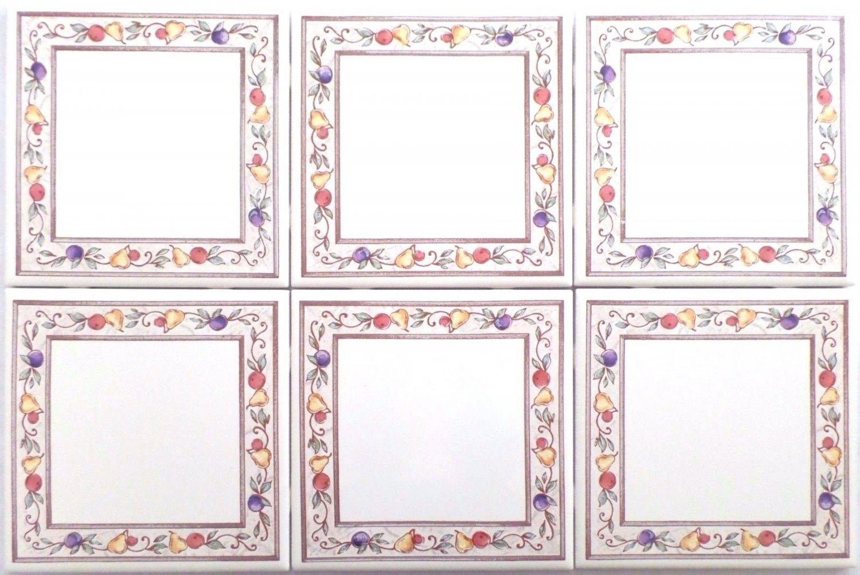 "Border Fruit Ceramic Tile Accents 6""x 6"" Kiln Fired Back Splash Grapes Apples"