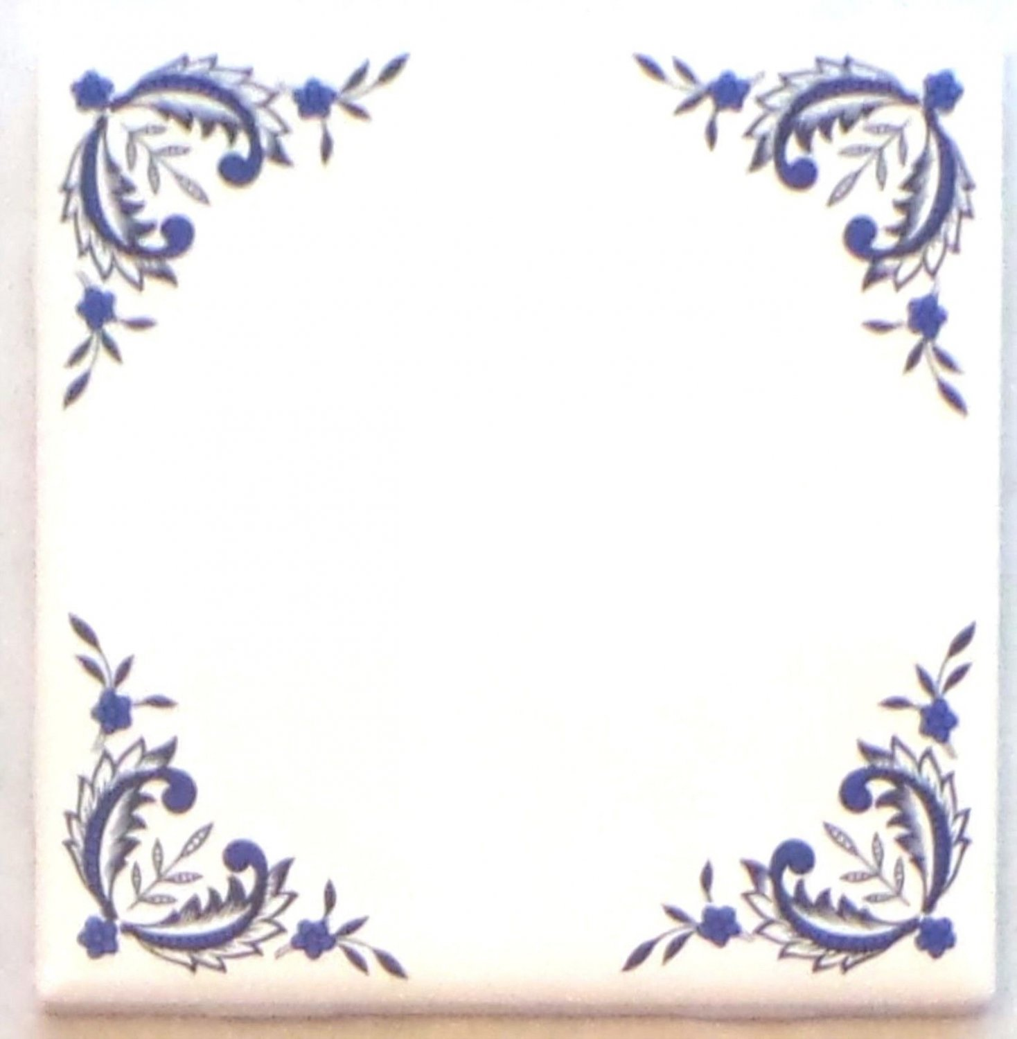 "One Blue Willow Ceramic 4.25"" Accent Tile Kiln Fired Decor Decorative Corners"
