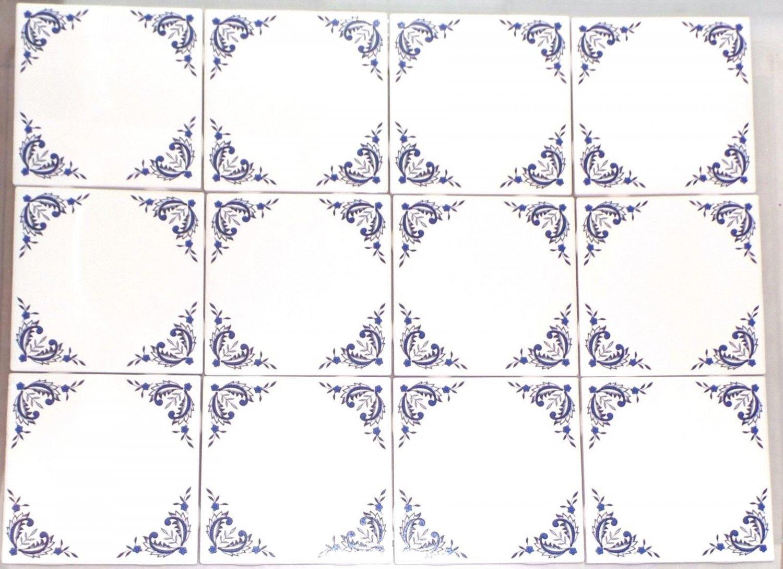 "12 pcs Blue Willow Ceramic 4.25"" Accent Tile Kiln Fired Decor Decorative Corners"