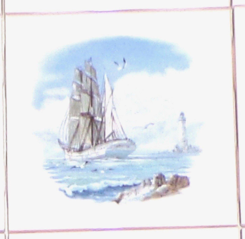 Ship Ceramic Accent Tile Goelette Sailing Light House Backsplash Kiln Fired